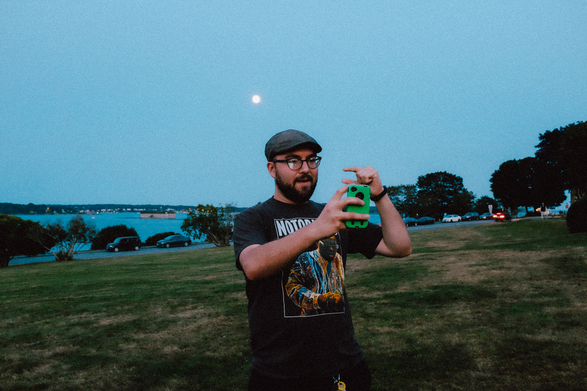 "Caught Aaron taking a selfie while he ""holds"" the moon :)"